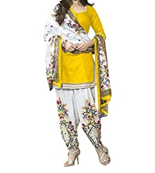 Look Smart Women's Polycoton Unstitched Dress Material (MONIKA PRINT YELLOW_Multicolor_Free Size)