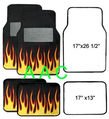 A Set of 4 Universal Fit Fire Flame Carpet Floor Mats for Cars / Truck - Black Yellow
