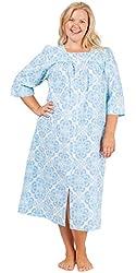 Plus Miss Elaine Long Seersucker Zip Front Robe in Floral Blue