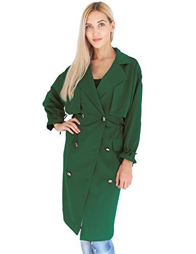 Prettigo Donna Cappotto Lungo Donna Giacca a Vento Casuale Giubbotto Soprabito Manica Lunga con Cintura Cardigan Outwear