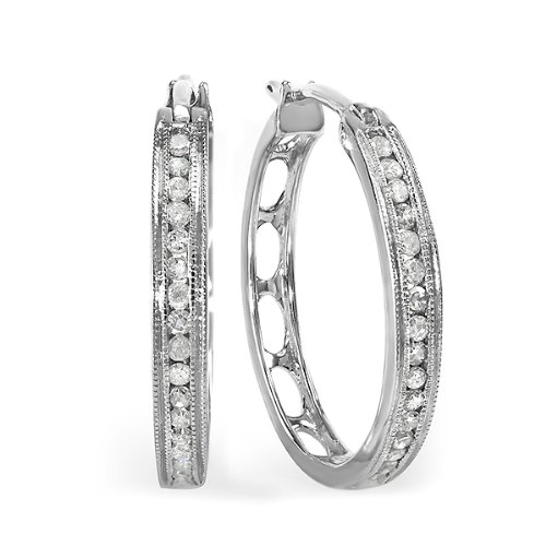 0.35 Carat (ctw) Sterling Silver Round Diamond Huggie Hoop Earrings 1/3 CT