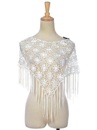 Anna-Kaci Free Size White Embroidered Layered Retro Hippie Geometric Shawl