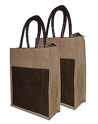 Foonty tote women Pack of 2 jute lunchbag (FJUWB6284)