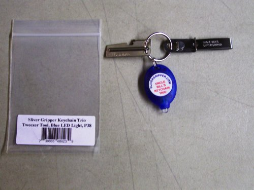 Uncle Bill'S Keychain Trio- Sliver Gripper Tweezer, Mini-Led Flashlight (Blue Case), P38 Can Opener.