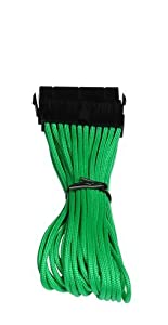BitFenix Alchemy Multisleeved 30cm 24Pin ATX Male to 24Pin ATX Female Extension Cable (Green)