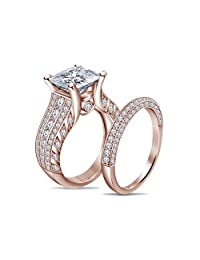 14K White Gold Over .925 Silver White Diamond Engagement & Wedding Ring Set For Women's