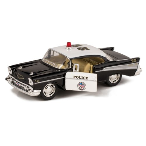 1957 Bel Air Die Cast Police Car Toy with Pull Back Action