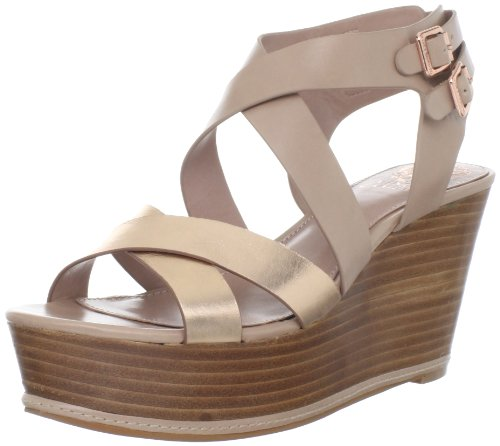 Vince Camuto Women's Giada Wedge Sandal,Rose/Gold/Croissant,6.5 M US