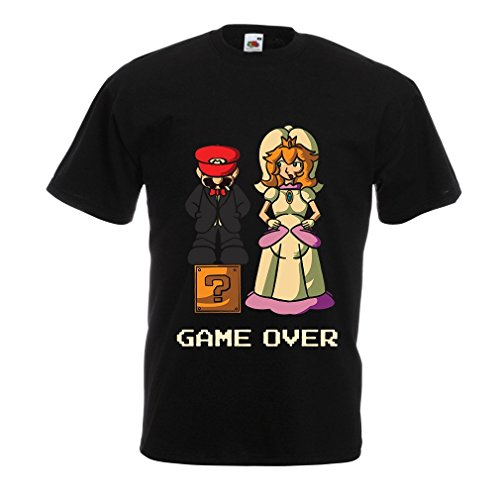 N4441 T-shirt da uomo The Game is Over (X-Large Nero Multicolore)