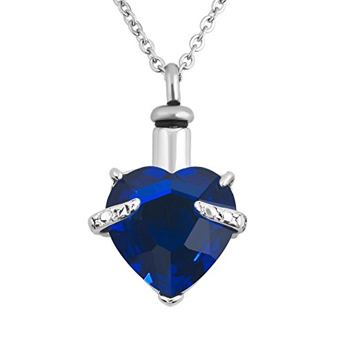 Big Birthstone Crystal Heart URN Necklace Memorial Cremation Keepsake Ashes Holder Pendant Chain Funnel (Dark Blue) (Big Urns For Human Ashes compare prices)