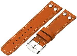 Momentum Men's ZC-22RIV Square One 22mm Orange Rivet Leather Watch Strap