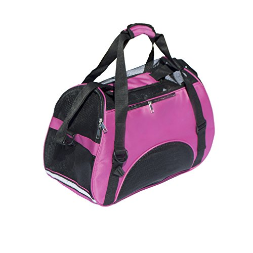 ALEKO LPC04MP Spacious Traveler Pet Comfort Carrier Tote Bag Portable Pet Home, Pink