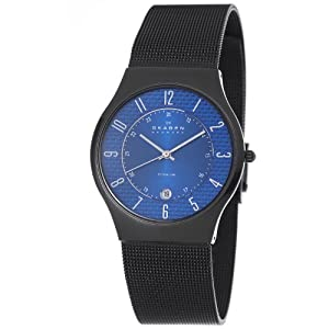 Skagen Men's 233XLTMNC Titanium Blue Dial Titanium Watch