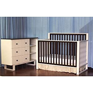 "Bundle-45 Moderno 4-in-1 Convertible Crib Set (3 Pieces) Mattress Type: Luna 6"" 88 Coil Ultra Firm Crib Mattress"