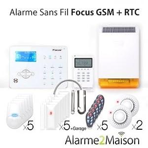 Focus - Alarme Maison sans fil Focus GSM et RTC + de 7 pièces + Garage Anti Incendie