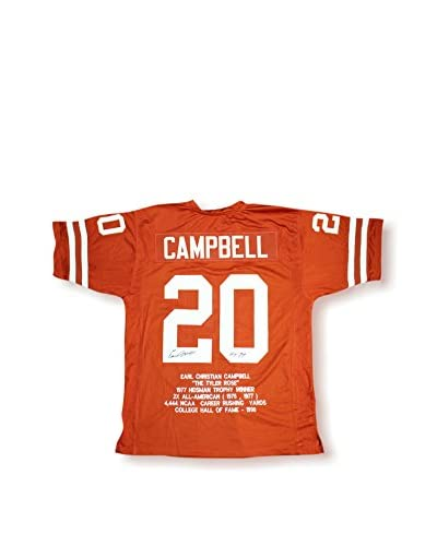 Steiner Sports Earl Campbell Signed Texas Longhorns Orange Embroidered Jersey With HT 77 Inscripti...
