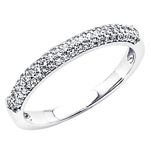 14K White Gold Round-cut CZ Cubic Zirconia Ladies Wedding Band Ring - Size 4