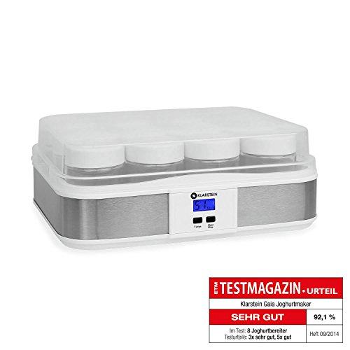 Klarstein Gaia - Yaourtière électrique 12 pots pour préparation de yaourts maison (volume total 2,5L, pots de 210mL, écran LCD) - blanc