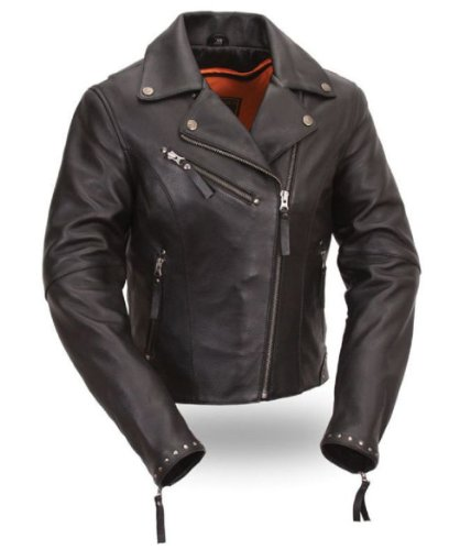 First Classics® Women's Riveted Classic Leather Jacket. Detailed with Antique Silver Rivets. FIL159NOCZ