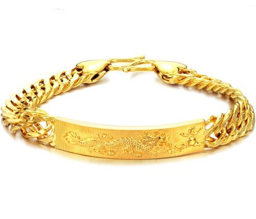 "3Aries Fashion Cool 18k Gold Plated Golden Metal Plate Carve ""Dragon Playing Ball"" Link Chain Powerful Men Bracelets King Bangle 20.5cm,29g"
