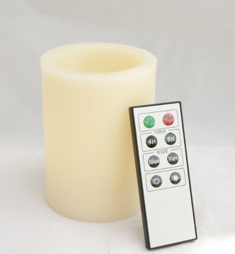 Candle Choice 3.1*4'' Paraffin Wax Even Edge Round Pillar Flameless Amber-Color Led Candle With Remote