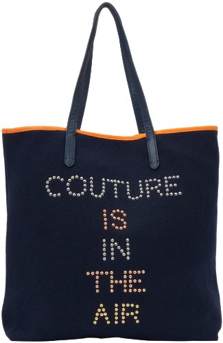 Juicy Couture Wool Regal Navy Blue Studded Couture Is In The Air Tote