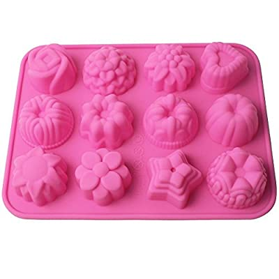 Eruner Flowers Shaped Silicone Cake Baking Non Stick Bread Chocolate Jelly Candy Mold Ice Lattice Cake Candy Making Moulds Cake Pans Chocolate Handmade DIY Mold Party Holidays