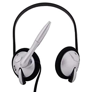 HP Dual On Ear Headphone with Mic. (Silver)