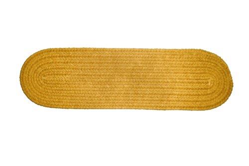 Rhody Rug Solid Polyester Stair Tread Braided Rug, 8 by 28-Inch, Daffodil