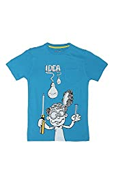 Poppers by Pantaloons Boy's Round Neck T-Shirt (205000005613278, Blue, 13-14 Years)