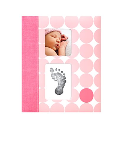 Pearhead Modern Dots Baby Book with Clean-Touch Ink Pad Included, Pink