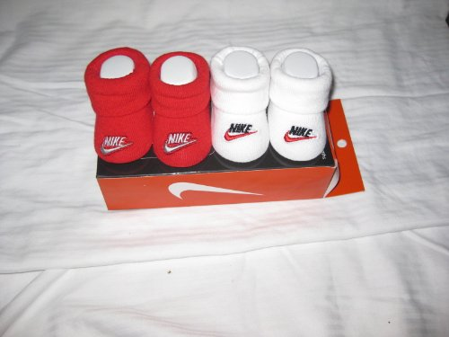Nike Air Jordan Booties Socks Crib Shoes 0-6m Baby Infant Socks Red/wht Embroidered Nike Swoosh Logo Baby Gift Set