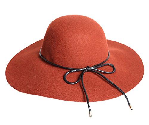 Kapmore Wide Brim Hat Womens Inverno Cappello di Lana Moda Cappello Del Derby Con Bowknot