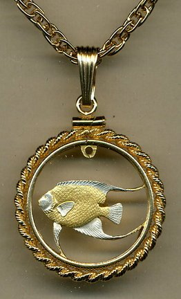 Stunning Bermuda Angelfish - GOLD & SILVER coin cut outs IN Gold Filled Bezels