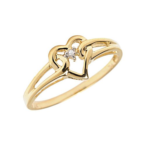 10K Yellow Gold Diamond Heart Ring (Size 10.5)