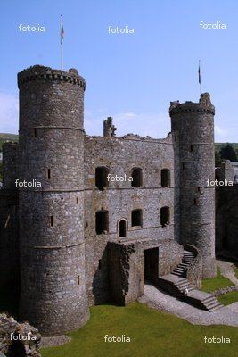 "Wallmonkeys Peel and Stick Wall Decals - Harlech Castle North Wales - 48""H x 32""W Removable Graphic"