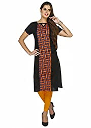 Awesome Fab Orange Color Cotton Fabric Women's Straight Kurti