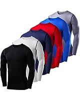 Men's Boys PowerLayer Compression Base Layer / Baselayer Top Long Sleeve Under Shirt - Crew Neck