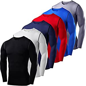 Mens Kids PowerLayer Compression Base Layer / Baselayer Top Long Sleeve Under Shirt - Crew Neck - Small - Black