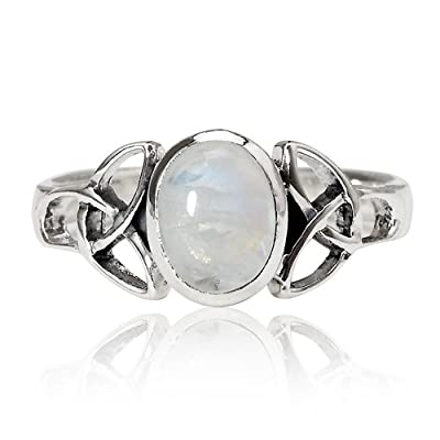 Sterling Silver Genuine White Oval Moonstone Celtic Band Ring - Nickel Free