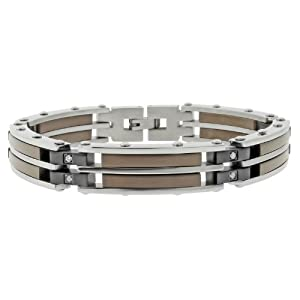 Men's Stainless Steel Bracelet with Diamond-Accent, Black Plating and Brown Plating (.16 cttw), 8''