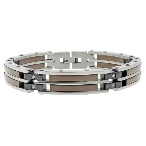 Men's Stainless Steel Bracelet  Diamond-Accent,