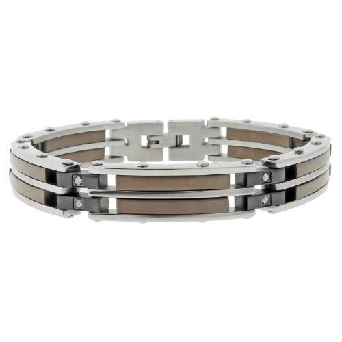 Men's Stainless Steel Bracelet  Diamond-Accent,