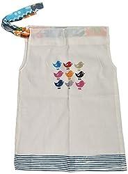 SKEMA TEX Baby Girls Regular Fit Dress (STKFR756BLU - A, White, 3-4 Years )