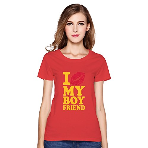 Valentine'S Day Love Boyfriend 100% Cotton T Shirt Humor For Women Red Xx-Large