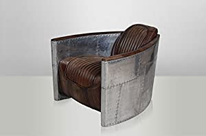 Art Deco Leather Armchair Aviator Leather Destroyed Raw ...