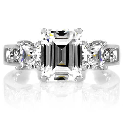 Hannah's 3 Stone 1.5 Carat CZ Ring - Emerald Cut .925 Genuine Engagement Sterling Silver Anniversary Ring Band Gift Boxed Size 6