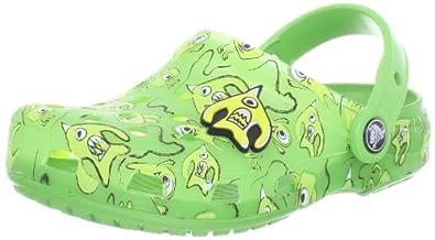 Crocs Chameleons Alien Pattern Volt Green/Lime Mules And Clogs Sandal 14083-37D-131 1 UK Junior