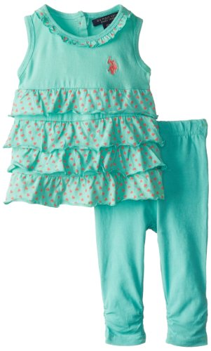 U.S. Polo Assn. Baby-Girls Infant 3 Piece Set Ruffled Top With Ruched Leggings, Frozen Aqua, 18 Months