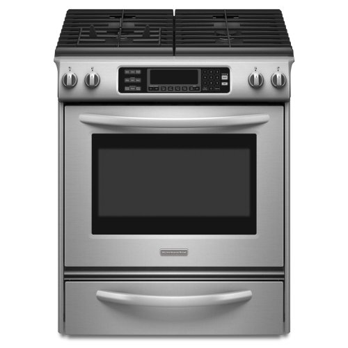 KitchenAid Architect Series II : KGSS907SSS 30 Slide-In Gas Range, 4 Sealed Burners, Convection